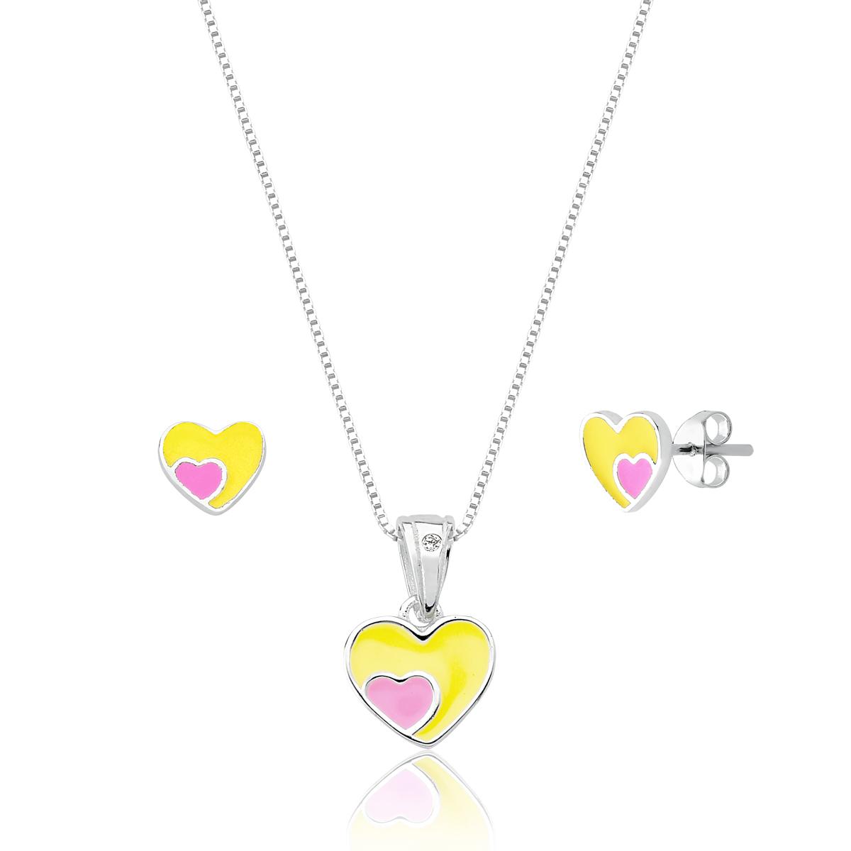 Conjunto Infantil Coração Amarelo e Rosa