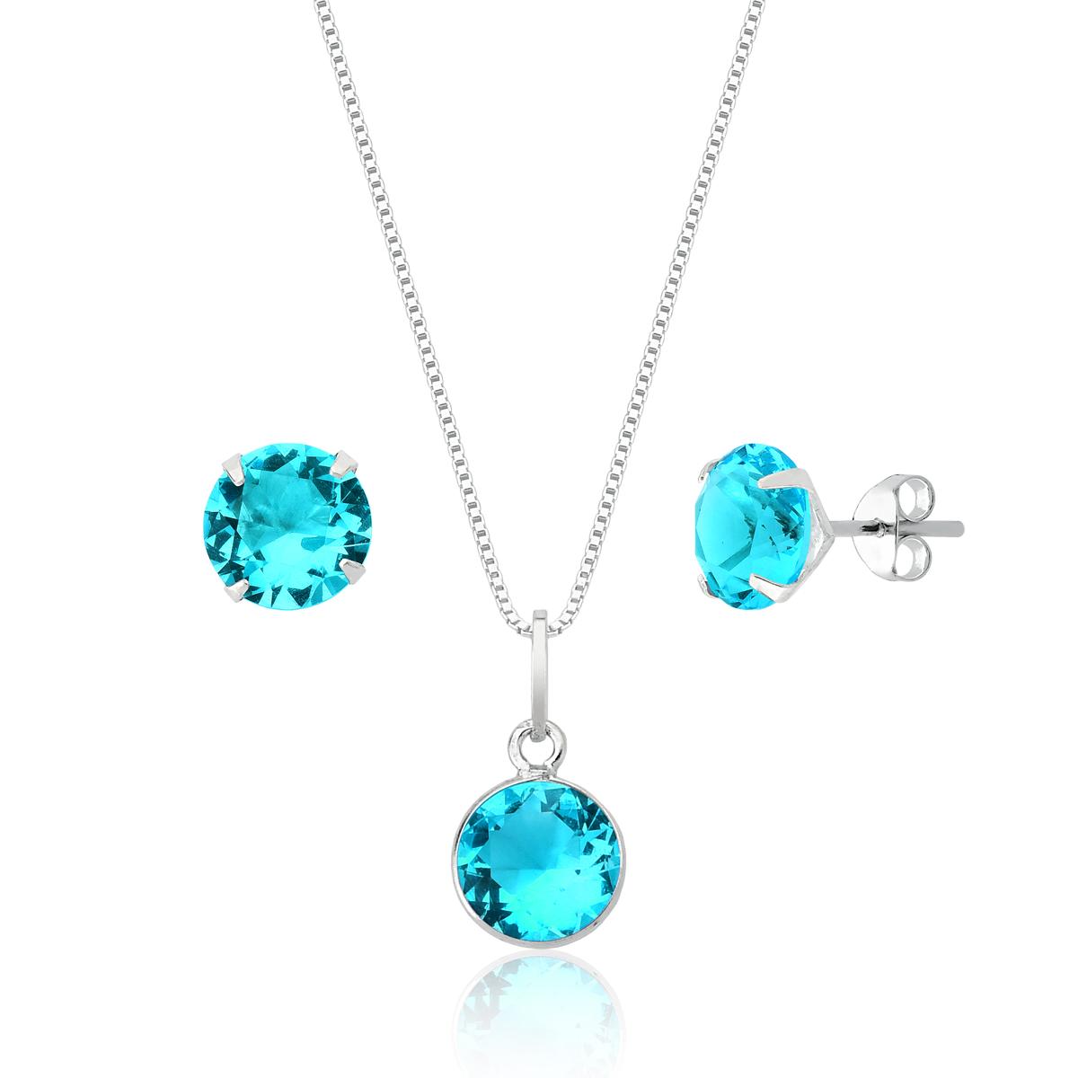 Conjunto Ponto de Cristal Azul Claro