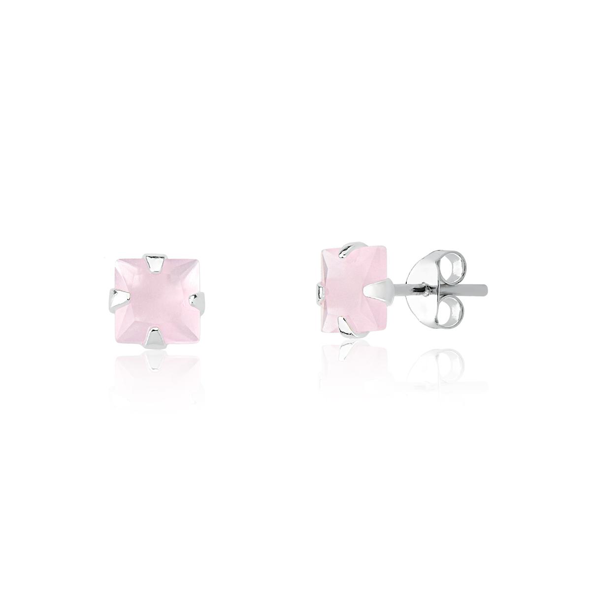 Conjunto de Prata Quadrado Rosa Claro Fosco