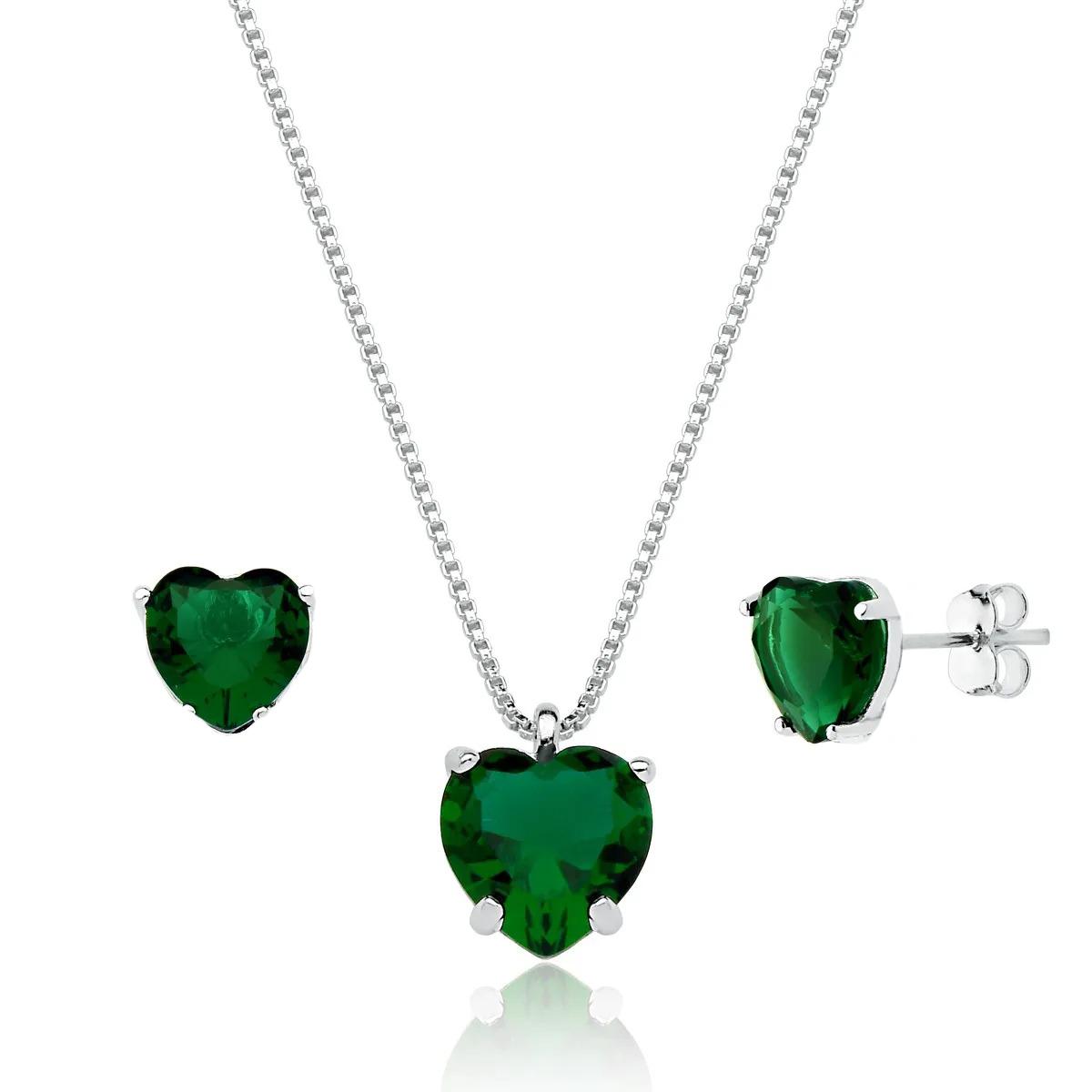 Coração Cristalino Verde Escuro