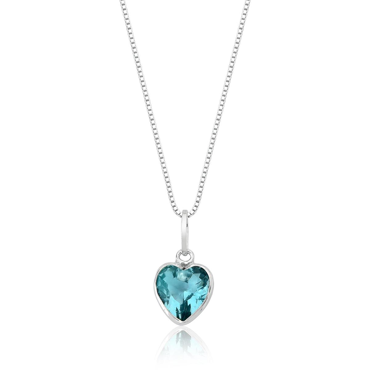 Conjunto Coração de Cristal Azul Água