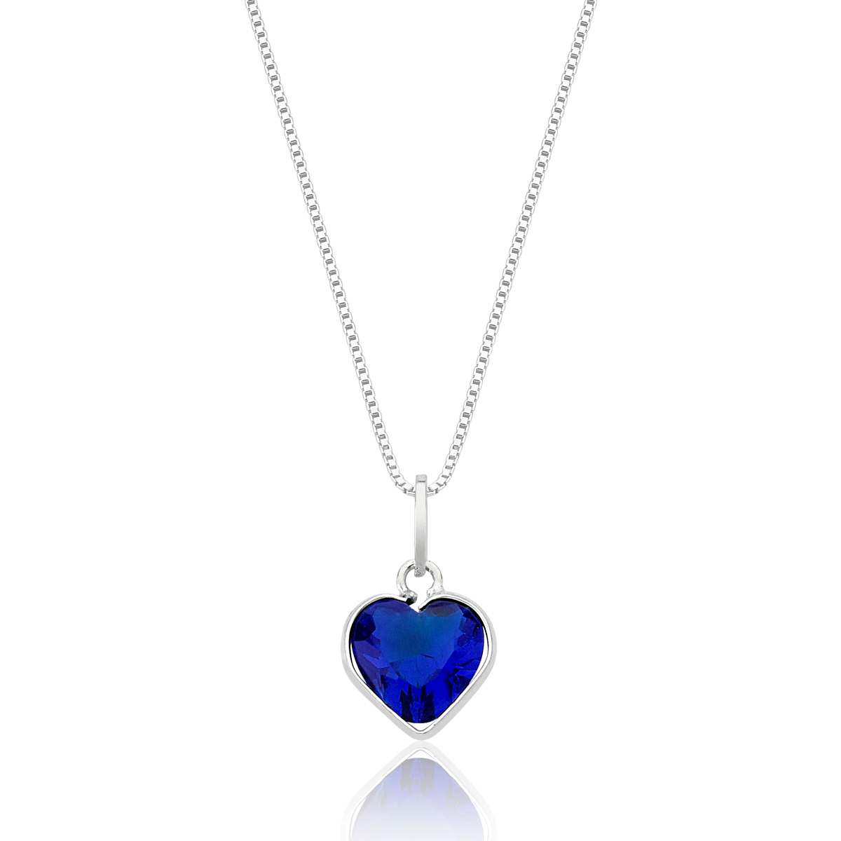 Conjunto Coração de Cristal Azul Escuro