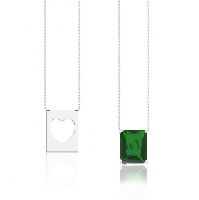 Escapulário Coração e Pedra Verde
