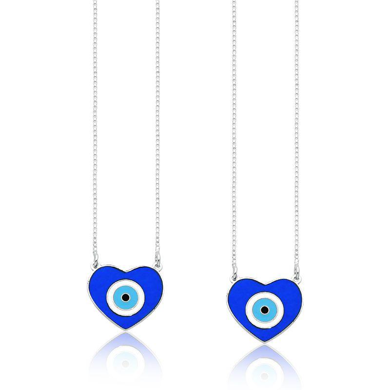Escapulário Coração Olho Grego Azul