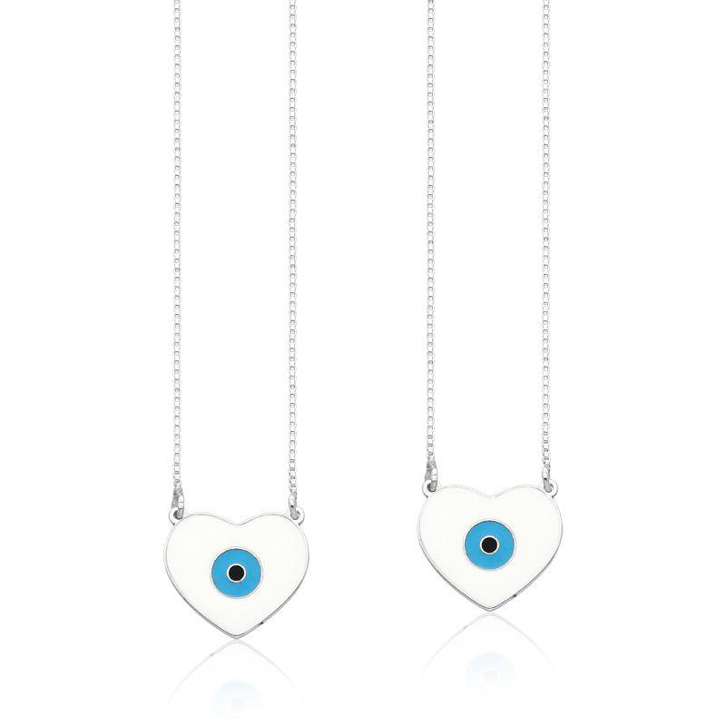 Escapulário Coração Olho Grego Branco