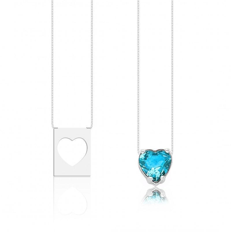 Escapulário Corações Pedra Azul Claro