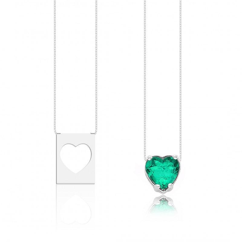 Escapulário Corações Pedra Verde Claro