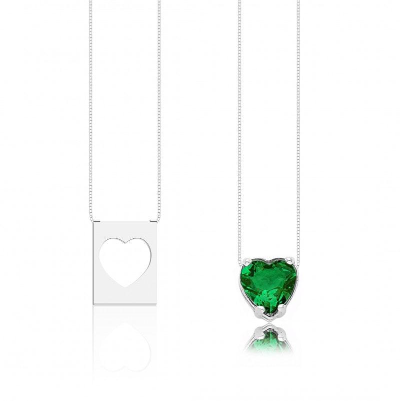 Escapulário Corações Pedra Verde Escuro