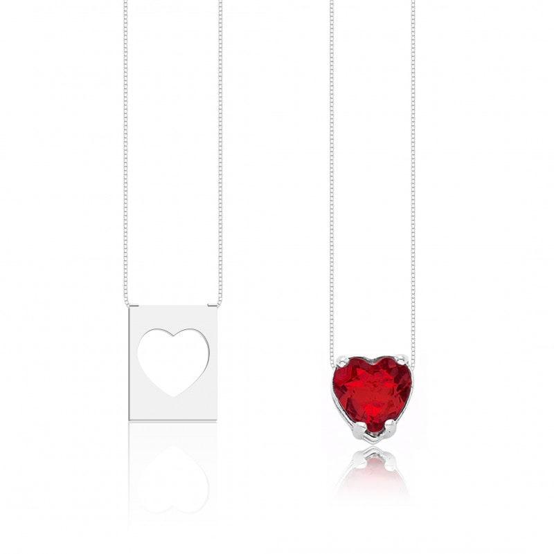 Escapulário Corações Pedra Vermelha