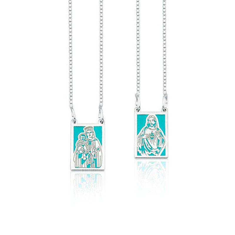 Escapulário Sagrado Coração De Jesus e N. Senhora do Carmo Azul