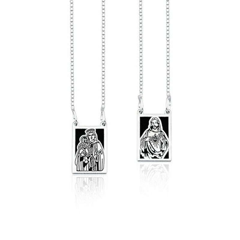 Escapulário Sagrado Coração De Jesus e N. Senhora do Carmo Preto