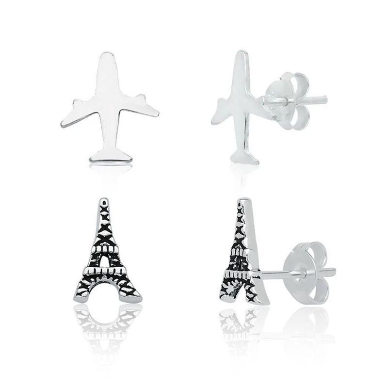 Kit 02 Brincos: Avião e Torre Eiffel