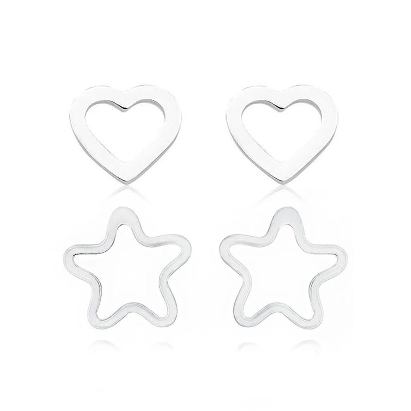 Kit 02 Brincos: Coração e Estrela