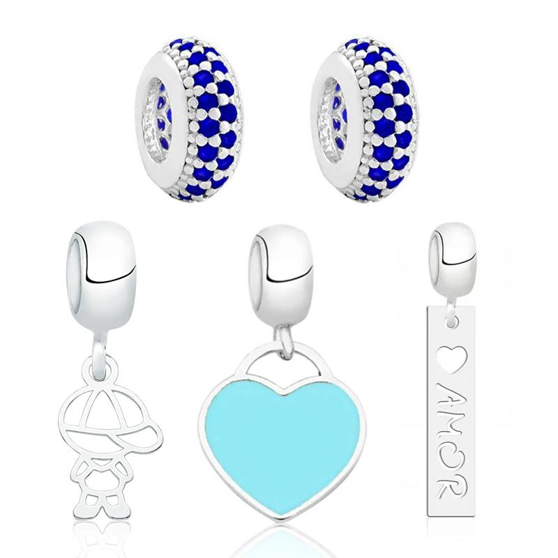 Berloque Kit Coração Mundo Azul