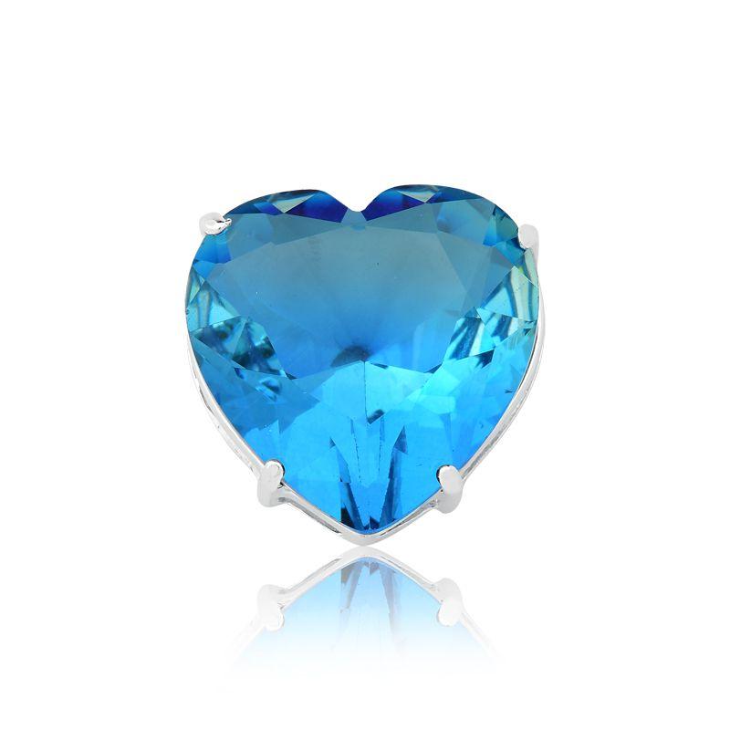 Pingente Coração Cristal Degradê Azul