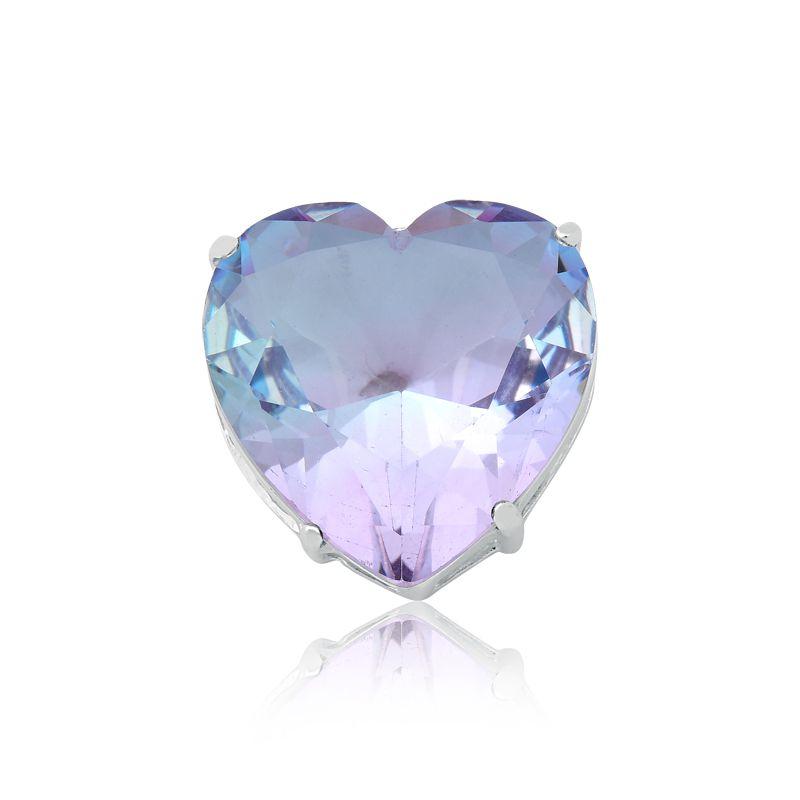 Pingente Coração Cristal Degradê Lilás