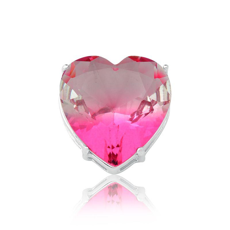 Pingente Coração Cristal Degradê Rosa