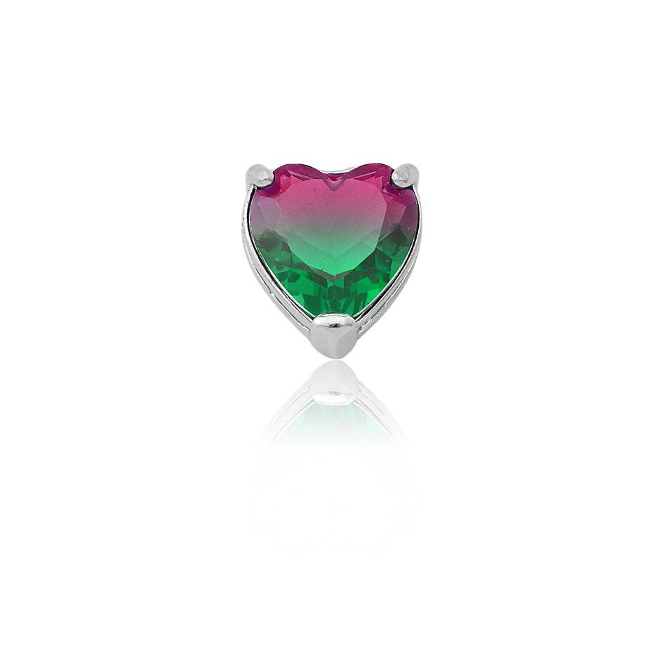 Pingente Coração Degradê Rosa e Verde