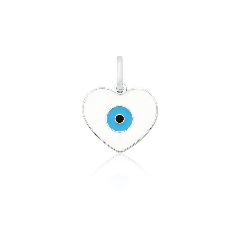 Pingente Coração Olho Grego Branco P