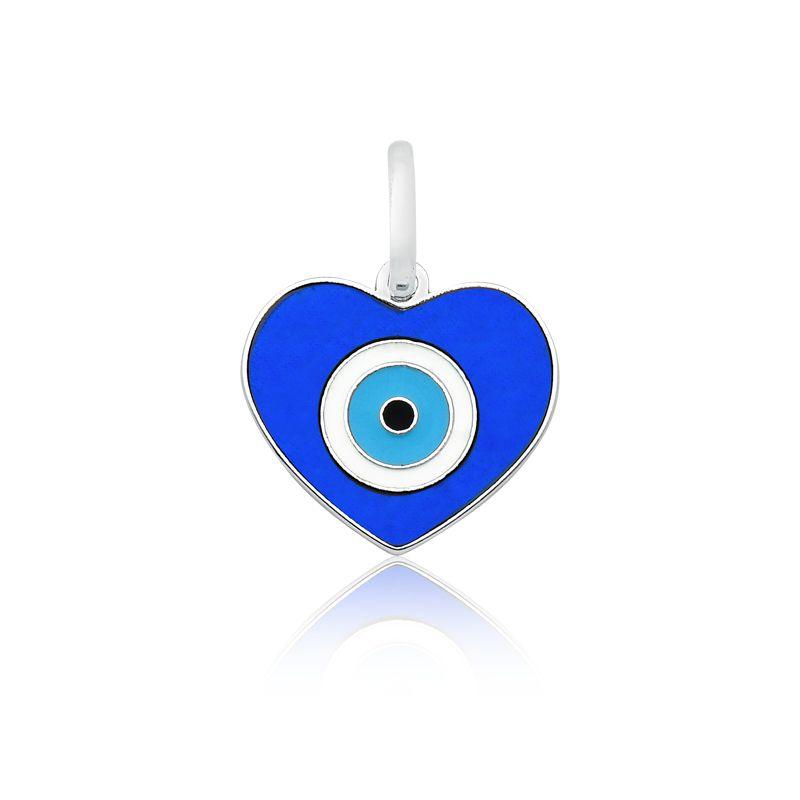Pingente Coração Olho Grego Azul M