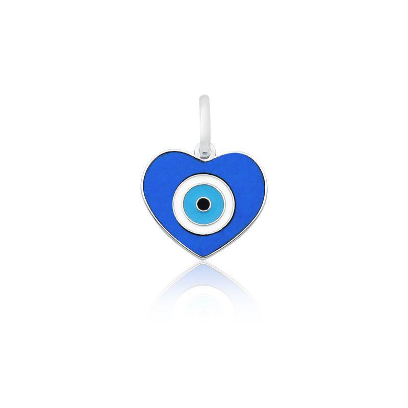 Pingente Coração Olho Grego Azul P