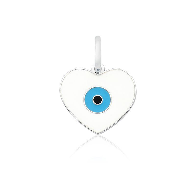 Pingente Coração Olho Grego Branco M