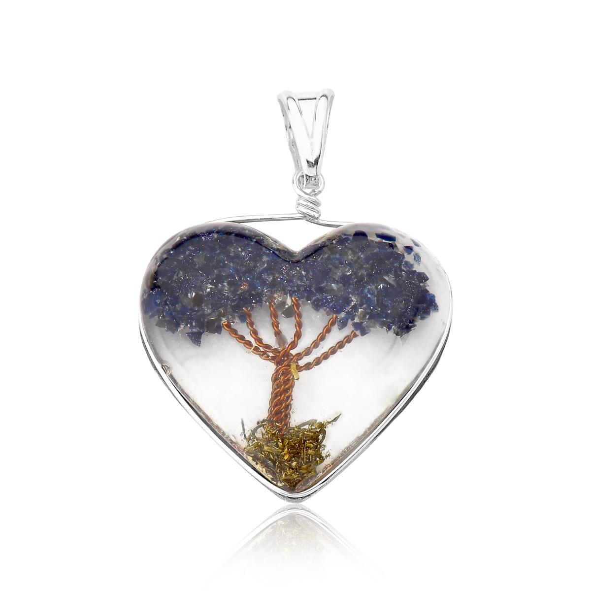 Pingente Coração Orgonite Árvore da Vida Azul Escuro - Florescer