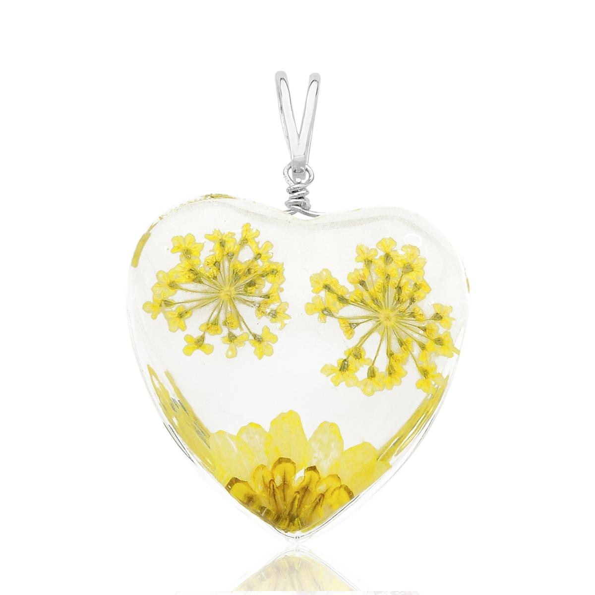 Pingente Coração Orgonite Flores Amarelas