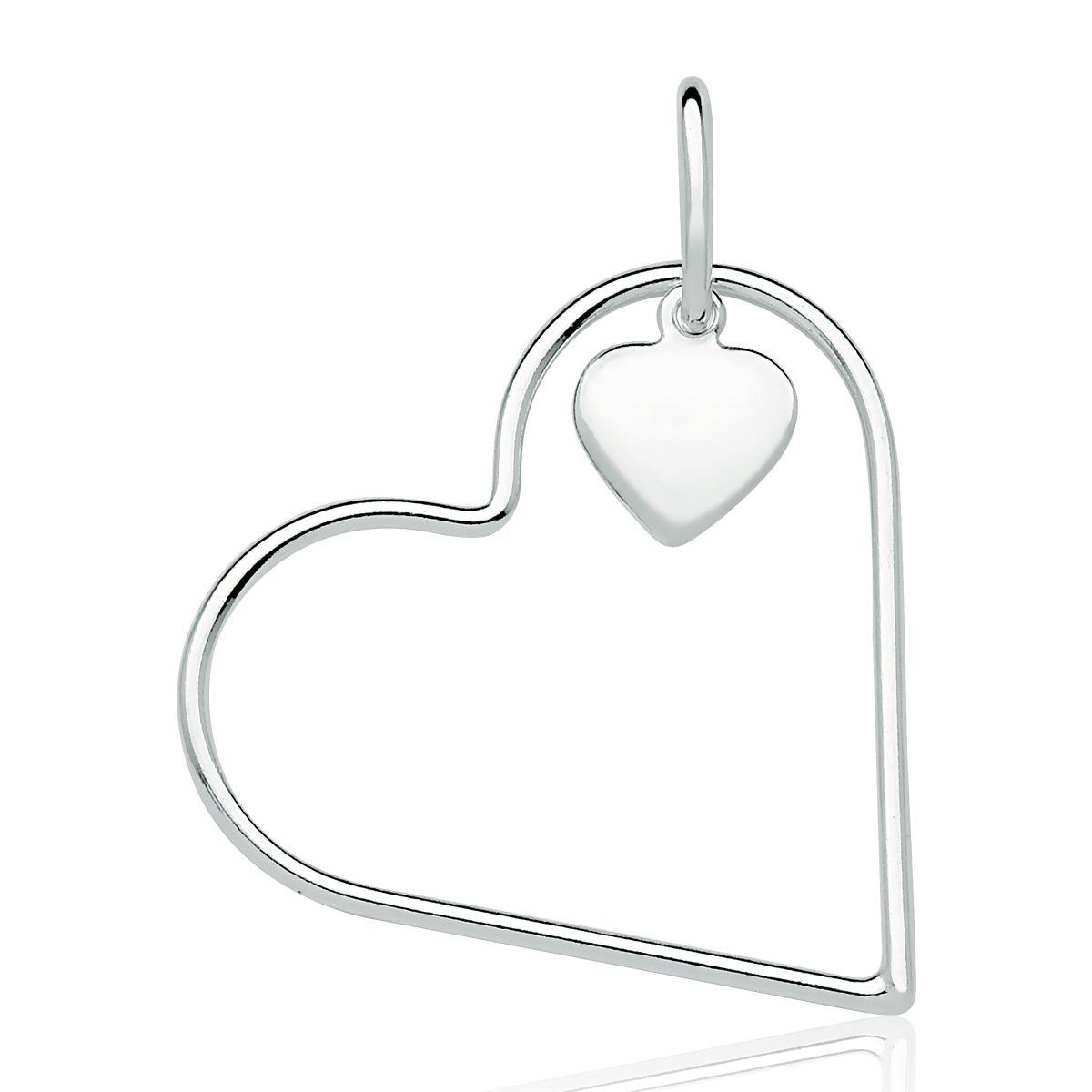 Pingente Coração Vazado com Mini Coração