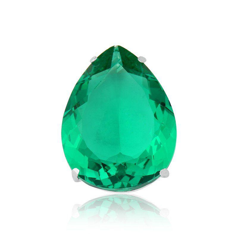 Pingente Gota Cristalina Verde Escuro