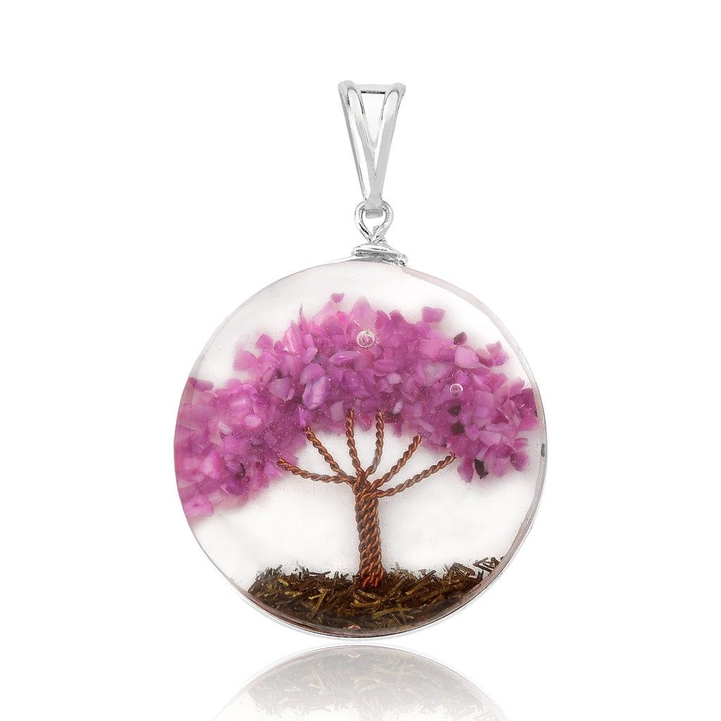 Pingente Orgonite Árvore da Vida Rosa Escuro - Florescer