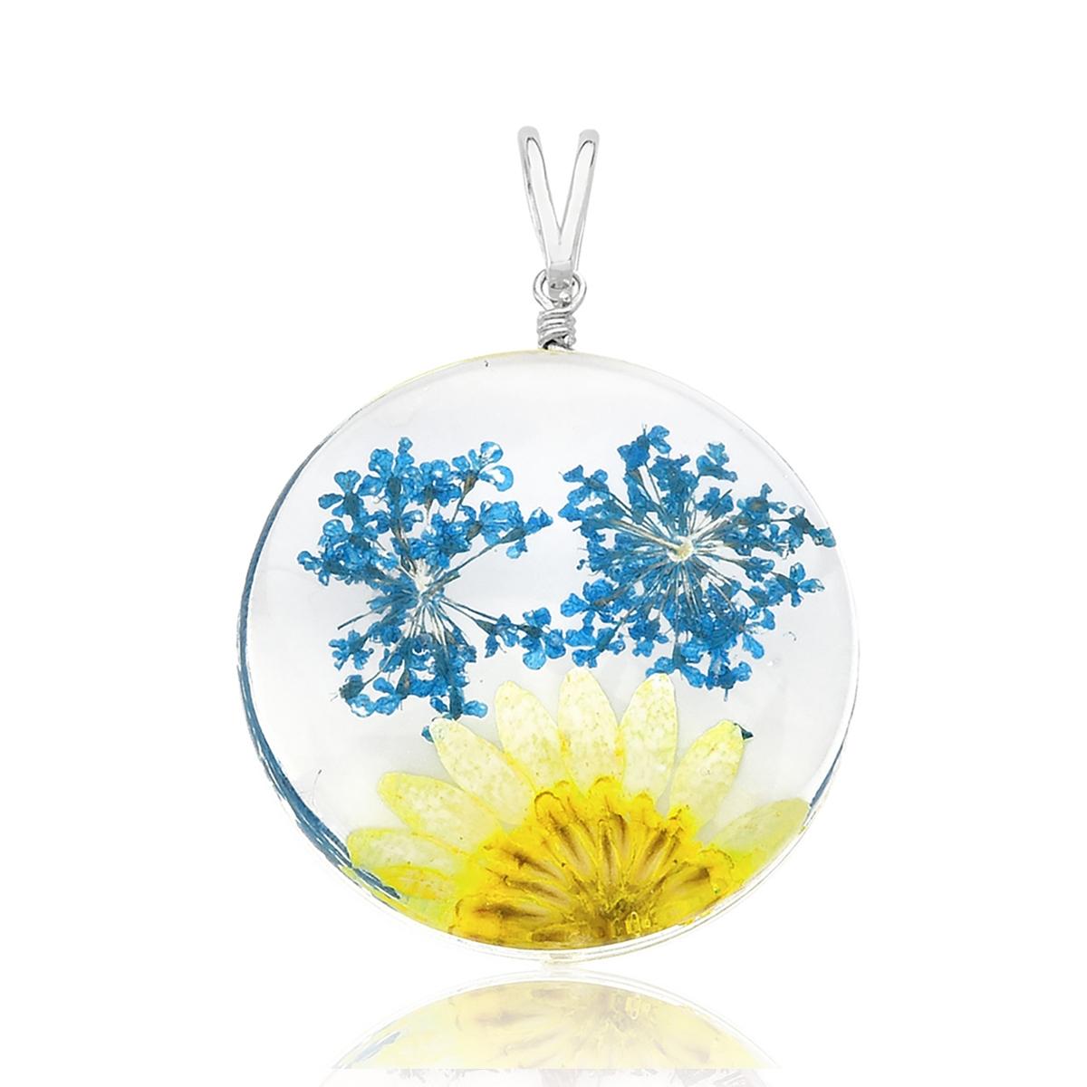 Pingente Orgonite Flor Amarela e Azul