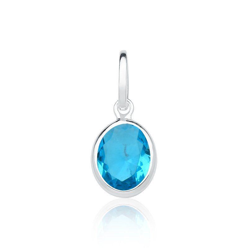 Pingente Ponto de Luz Oval Azul