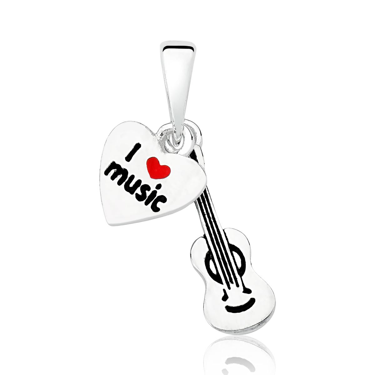 Colar Violão e Coração I Love Music