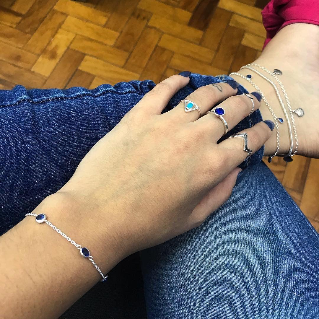 Pulseira 4 Zircônias Azul 5 MM
