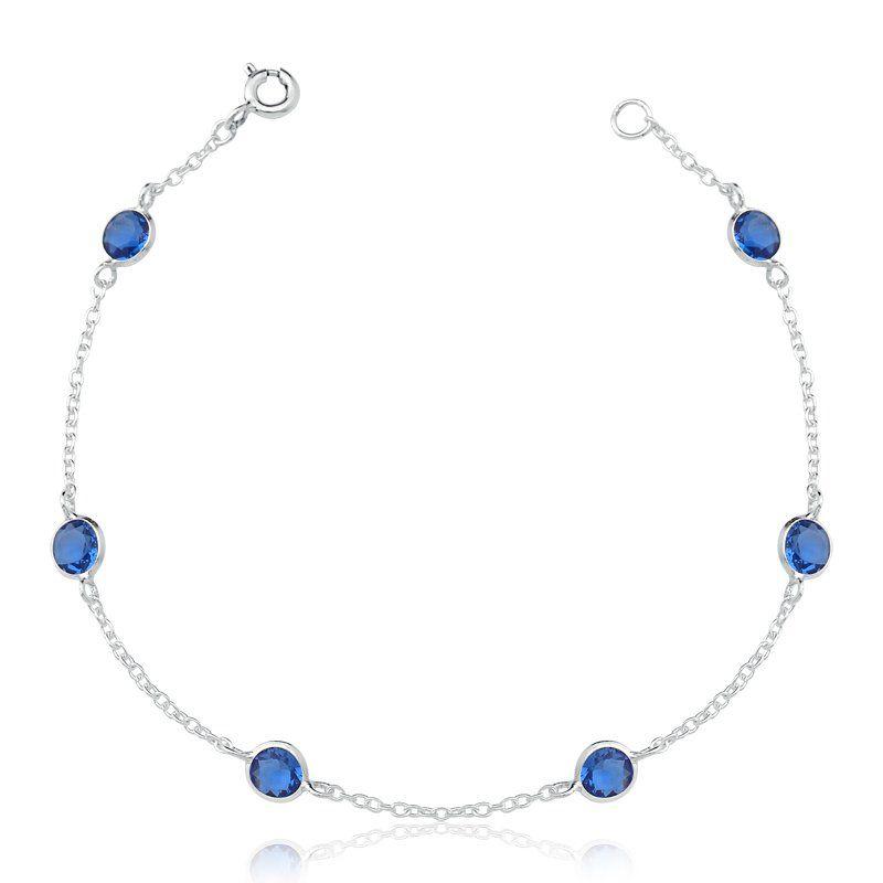 Pulseira 6 Zircônias Azul 5 MM