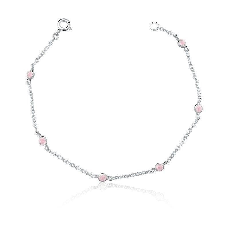 Pulseira 6 Zircônias Rosa Claro 3 MM