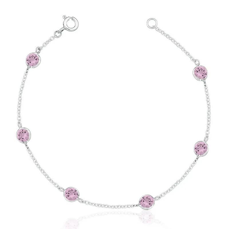 Pulseira 6 Zircônias Rosa Claro 5 MM