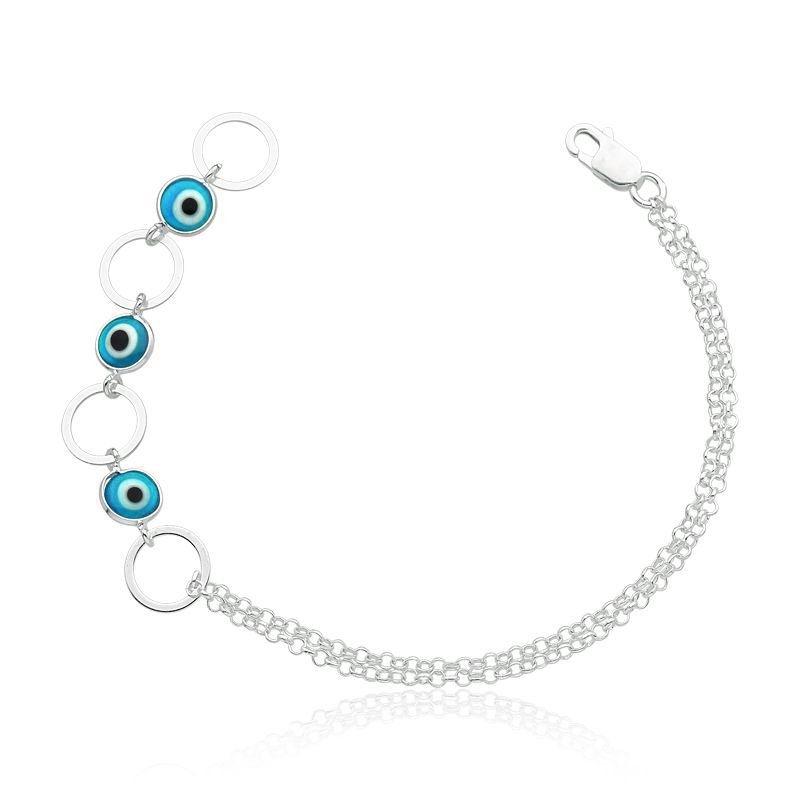 Pulseira Círculos Olho Grego Azul Claro Rodinada