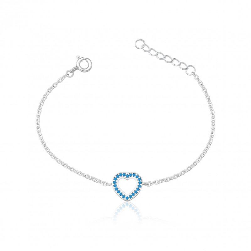 Pulseira Coração Azul Claro Fosco Vazado