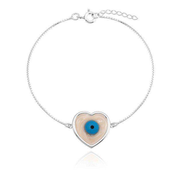 Pulseira Coração Olho Grego