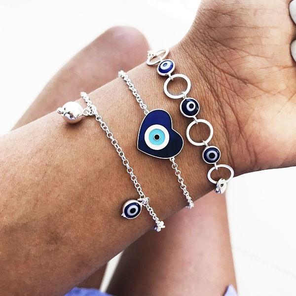 Pulseira Coração Olho Grego Azul