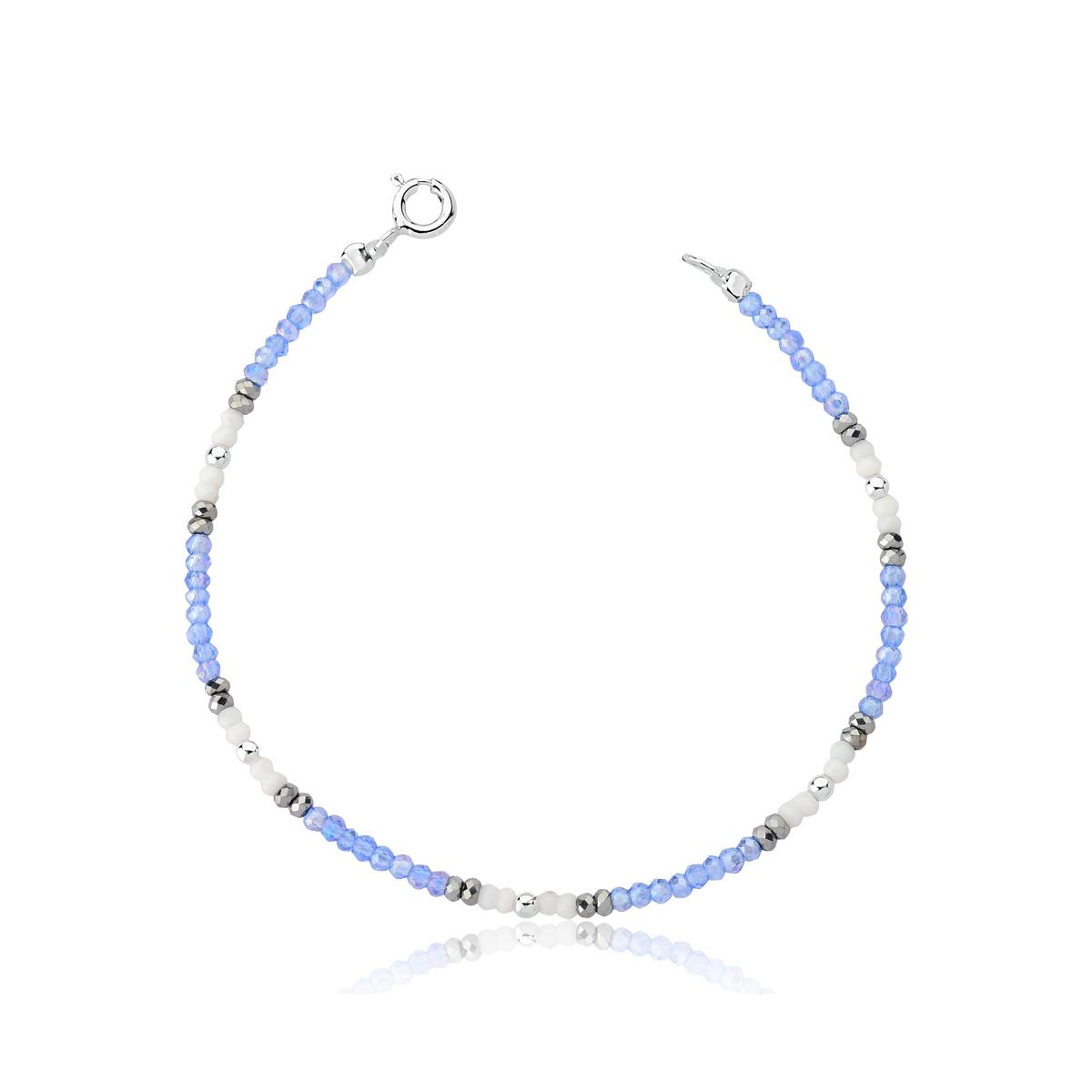 Pulseira Cristal Azul e Branco com Bolinhas