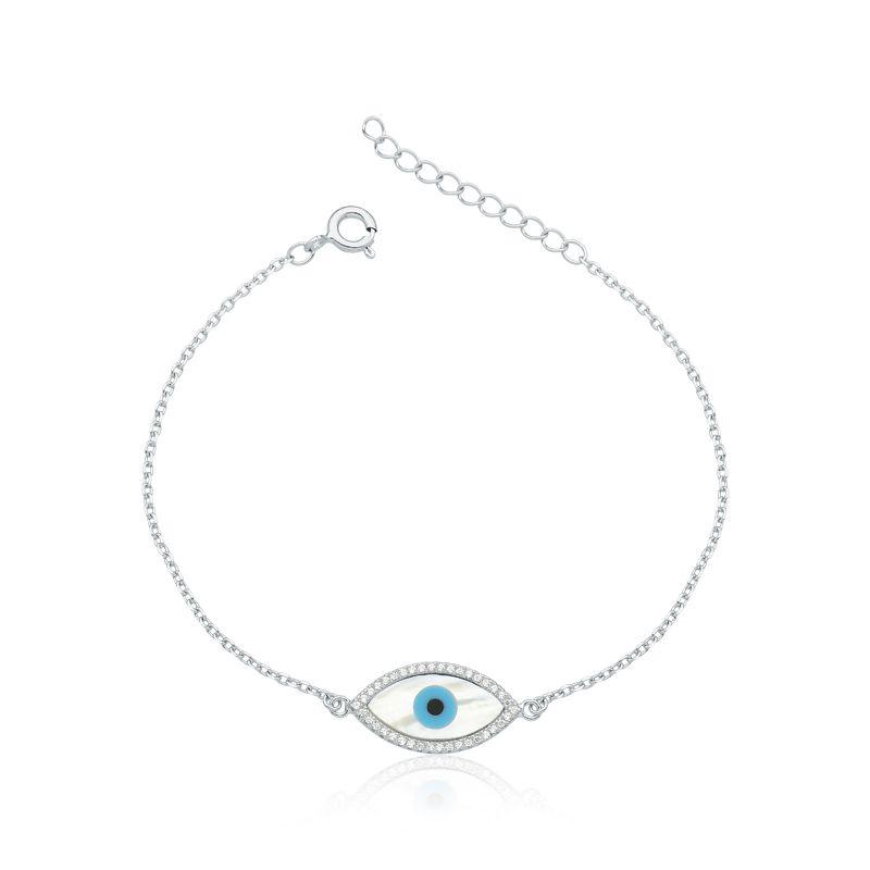 Pulseira Olho Grego Perolado Com Zircônia Rodinada