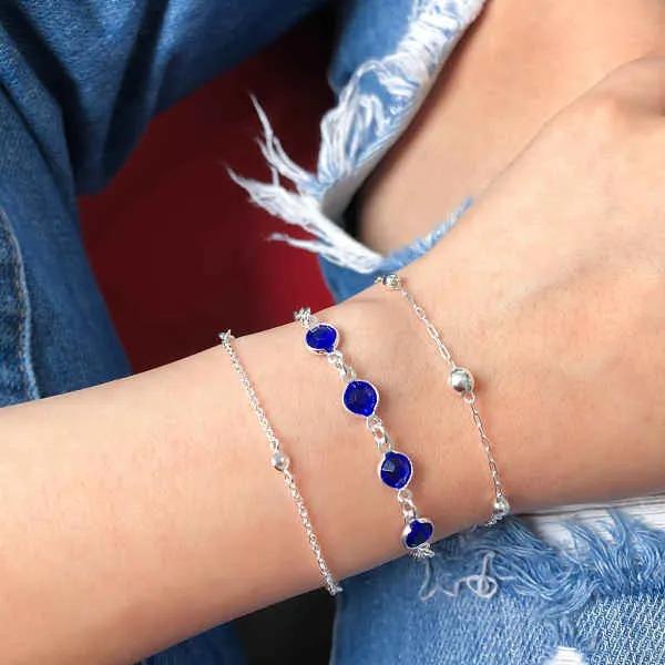 Pulseira Zircônias Azuis 7 MM