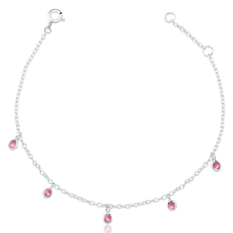 Pulseira Zircônias Penduradas Rosa 3 MM