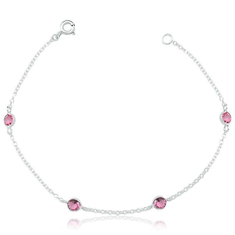 Pulseira Zircônias Rosa 4 MM