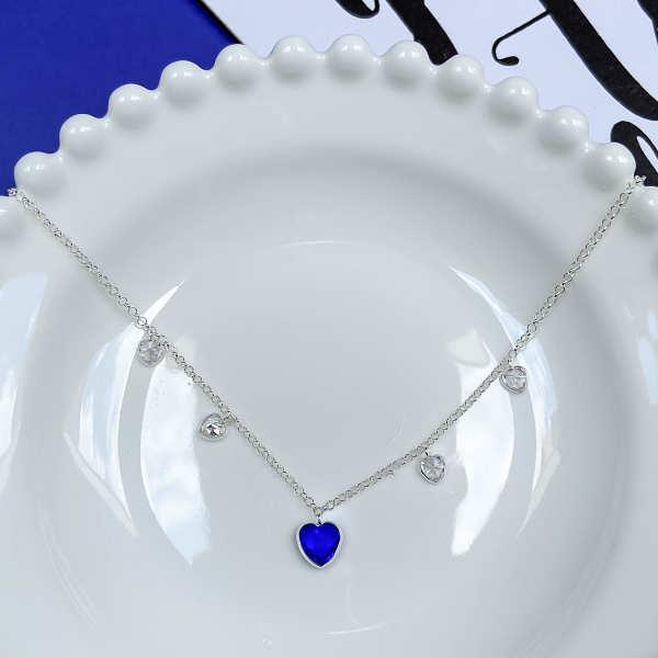 Tornozeleira Coração Azul