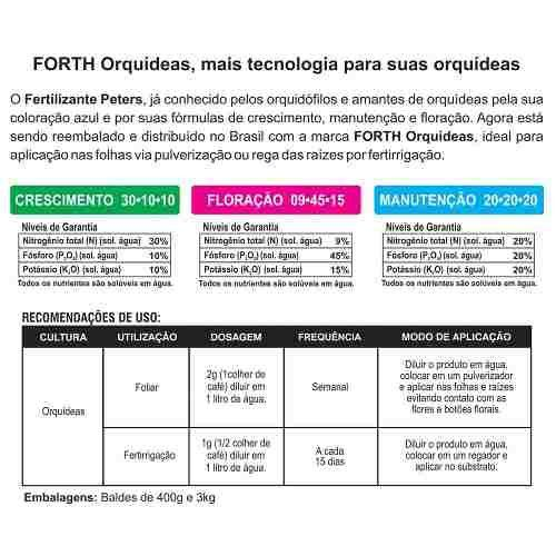 Adubo Fertilizante Forth Orquídeas - Peters Professional - Crescimento - 30-10-10 - 400g