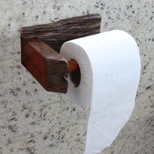 Porta Papel Higiênico De Parede Em Madeira De Demolição